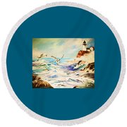 Lighthouse Gulls And Waves Round Beach Towel