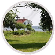 Lighthouse Hidden Behind Trees Round Beach Towel