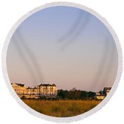 Lighthouse In A Town, Edgartown Round Beach Towel