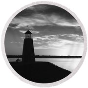 Lighthouse In Black And White Round Beach Towel