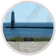 Lighthouse In Blue Round Beach Towel
