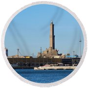 Lighthouse In Genova. Italy Round Beach Towel
