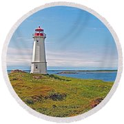 Lighthouse In Louisbourgh-ns Round Beach Towel