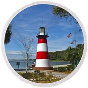 Lighthouse In Mount Dora Round Beach Towel