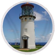 Lighthouse In Paradise Round Beach Towel