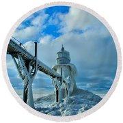 Lighthouse In Saint Joseph Michigan Round Beach Towel