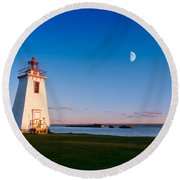 Lighthouse In The Light From Moon And Sun Round Beach Towel
