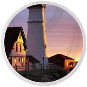 Lighthouse In The Morning Round Beach Towel