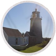Lighthouse In The Sun Round Beach Towel