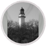 Lighthouse In Trees Round Beach Towel