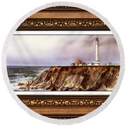 Lighthouse In Vintage Frame Round Beach Towel
