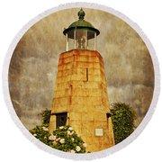Lighthouse - La Coruna Round Beach Towel