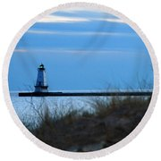 Lighthouse Lit Round Beach Towel