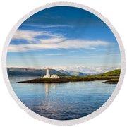 Lighthouse Near Oban In Scotland Round Beach Towel