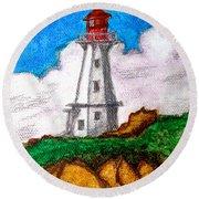Lighthouse Nova Scotia Round Beach Towel