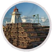 Lighthouse On A Channel By Cascumpec Bay On Prince Edward Island No. 094 Round Beach Towel