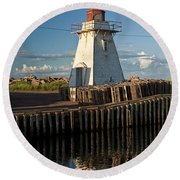 Lighthouse On A Channel By Cascumpec Bay On Prince Edward Island No. 095 Round Beach Towel