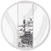 Lighthouse On A Cliff Bookmark Round Beach Towel