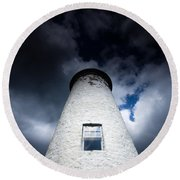 Lighthouse On Boblo Island Round Beach Towel