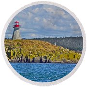 Lighthouse On Brier Island In Digby Neck-ns Round Beach Towel