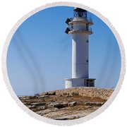 Lighthouse On Cap De Barbaria On Formentera Round Beach Towel