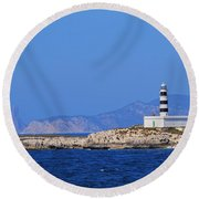 Lighthouse On Isla De Es Penjats Round Beach Towel