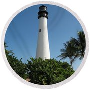 Lighthouse On Key Biscayne Round Beach Towel