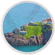 Lighthouse On Point In Signal Hill National Historic Site In Saint John's-nl Round Beach Towel