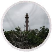 Lighthouse On Sanibel Island Round Beach Towel