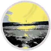 Lighthouse On The Horizon Round Beach Towel