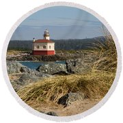 Lighthouse Over The Dunes Round Beach Towel