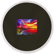 Lighthouse - Palette Knife Oil Painting On Canvas By Leonid Afremov Round Beach Towel