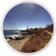 Lighthouse Path Round Beach Towel by Joann Vitali
