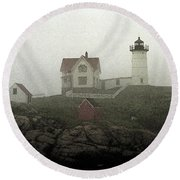 Lighthouse - Photo Watercolor Round Beach Towel