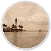Lighthouse Point Round Beach Towel