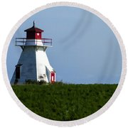 Lighthouse Prince Edward Island Round Beach Towel