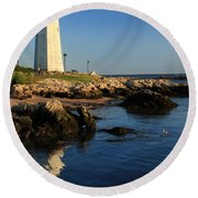 Lighthouse Reflected Round Beach Towel