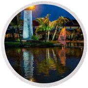 Lighthouse Reflection Round Beach Towel by Adrian Evans