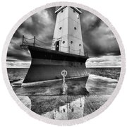 Lighthouse Reflection Black And White Round Beach Towel