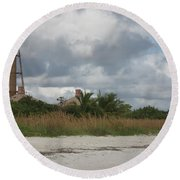 Sanibel Island Light Round Beach Towel