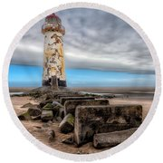 Lighthouse Steps Round Beach Towel by Adrian Evans