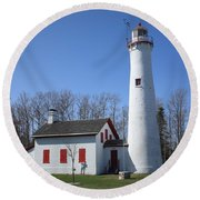 Lighthouse - Sturgeon Point Michigan Round Beach Towel