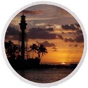 Lighthouse Sun Rays Round Beach Towel