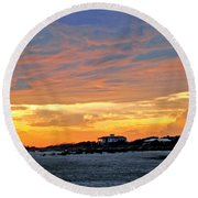 Lighthouse Sunset By Jan Marvin Round Beach Towel