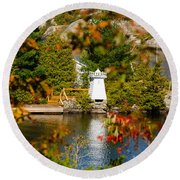 Lighthouse Through The Leaves Round Beach Towel