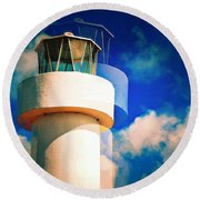 Lighthouse To The Clouds Round Beach Towel