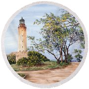 Lighthouse Round Beach Towel by Victor Collector