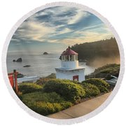 Lighthouse Walk Round Beach Towel by Adam Jewell
