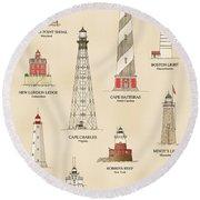 Lighthouses Of The East Coast Round Beach Towel
