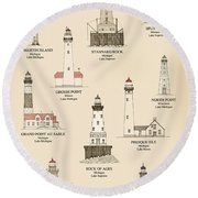 Lighthouses Of The Great Lakes Round Beach Towel